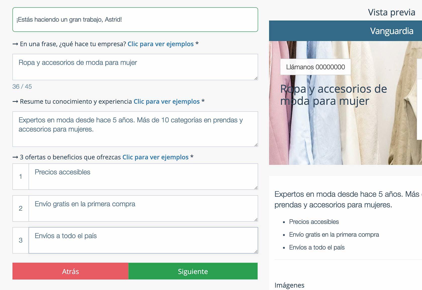 Crear Página Web para vender ropa. Descripción empresa