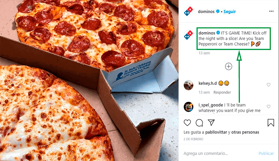 Cómo ganar seguidores en Instagram. Post de Domino's Pizza