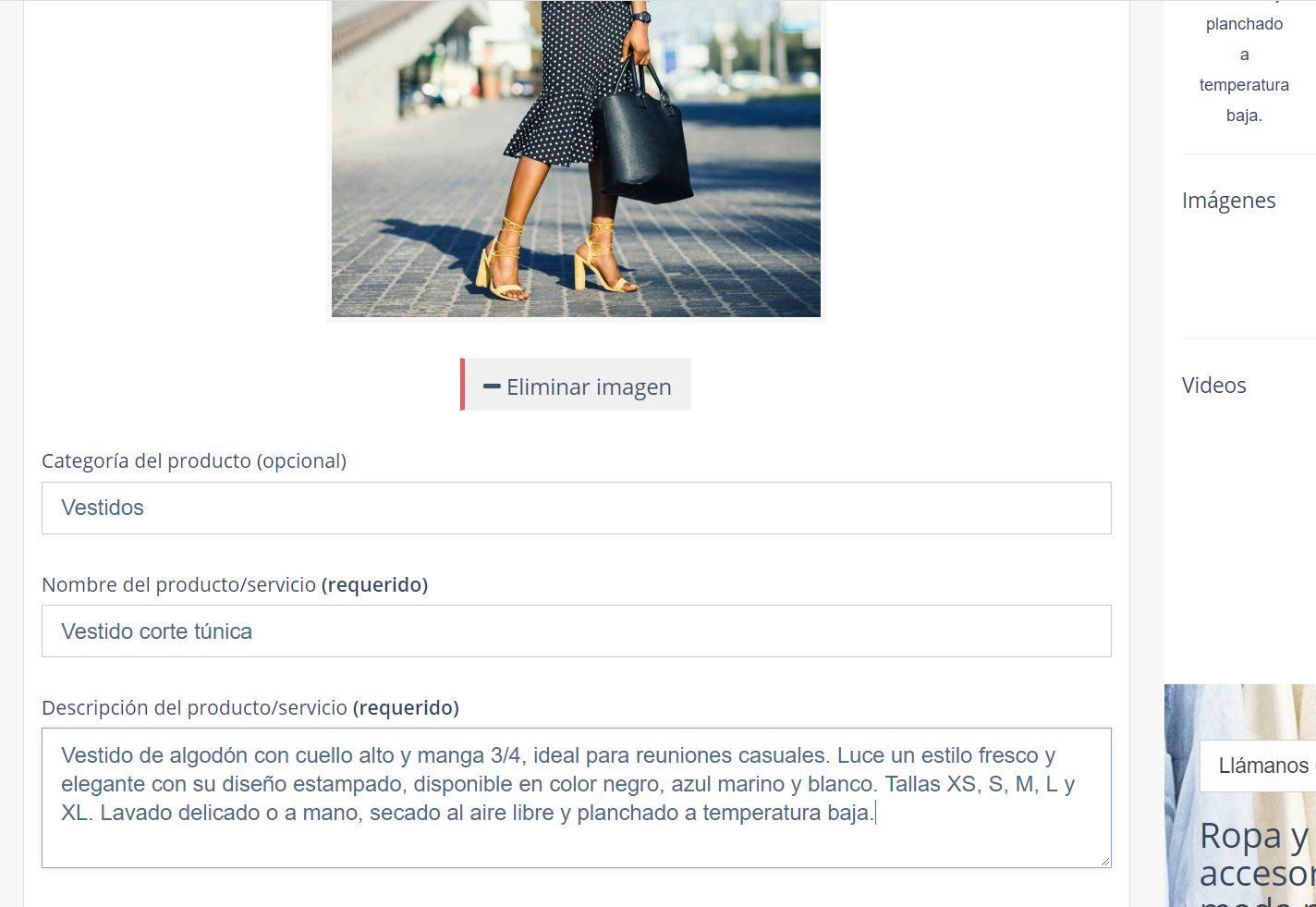 Crear Página Web para vender ropa. Descripción de producto