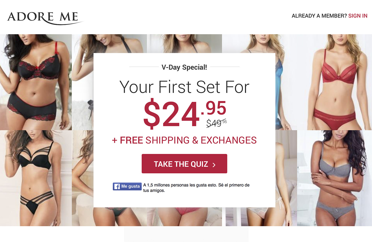 Offer from Adore me company - Marketing for clothing store