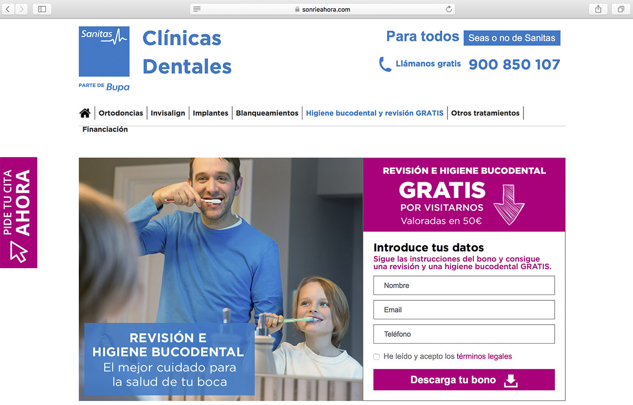 Promotion from the spanish dental clinic Sanitas - Marketing for dental clinics
