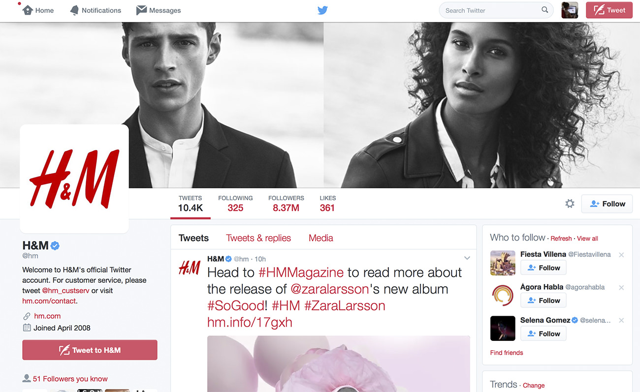 Optimized Twitter profile. H&M. Twitter for business