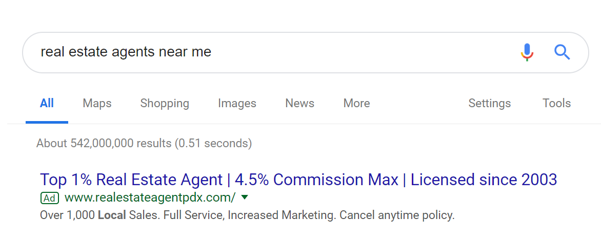 landing page anatomy for google ads campaign real estate pdx search ad