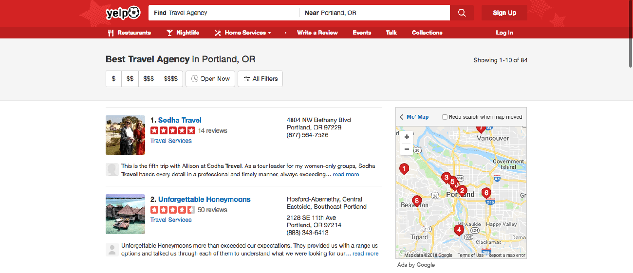 tourism marketing yelp