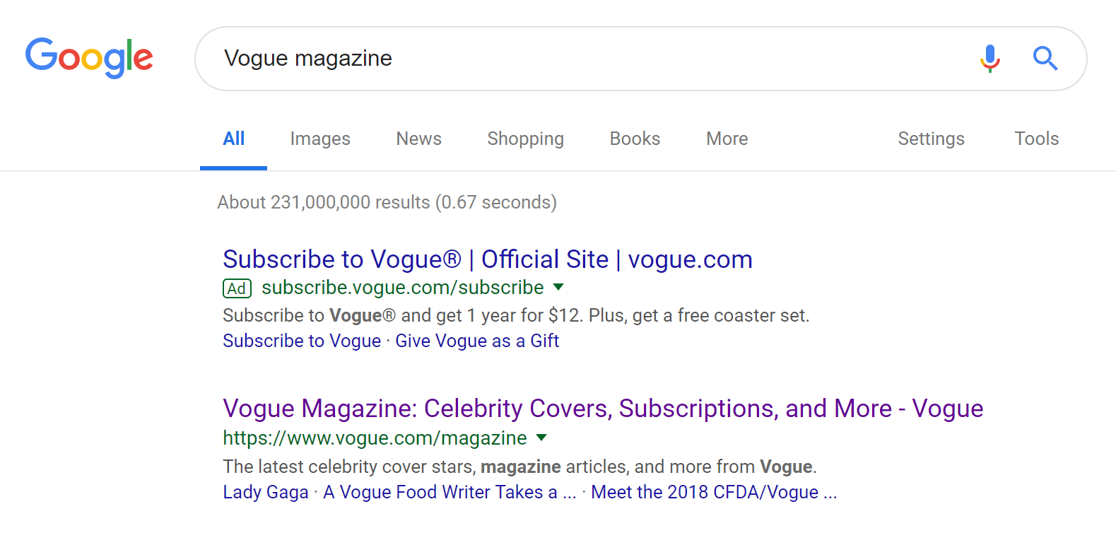 landing page anatomy for google ads campaign vogue google search