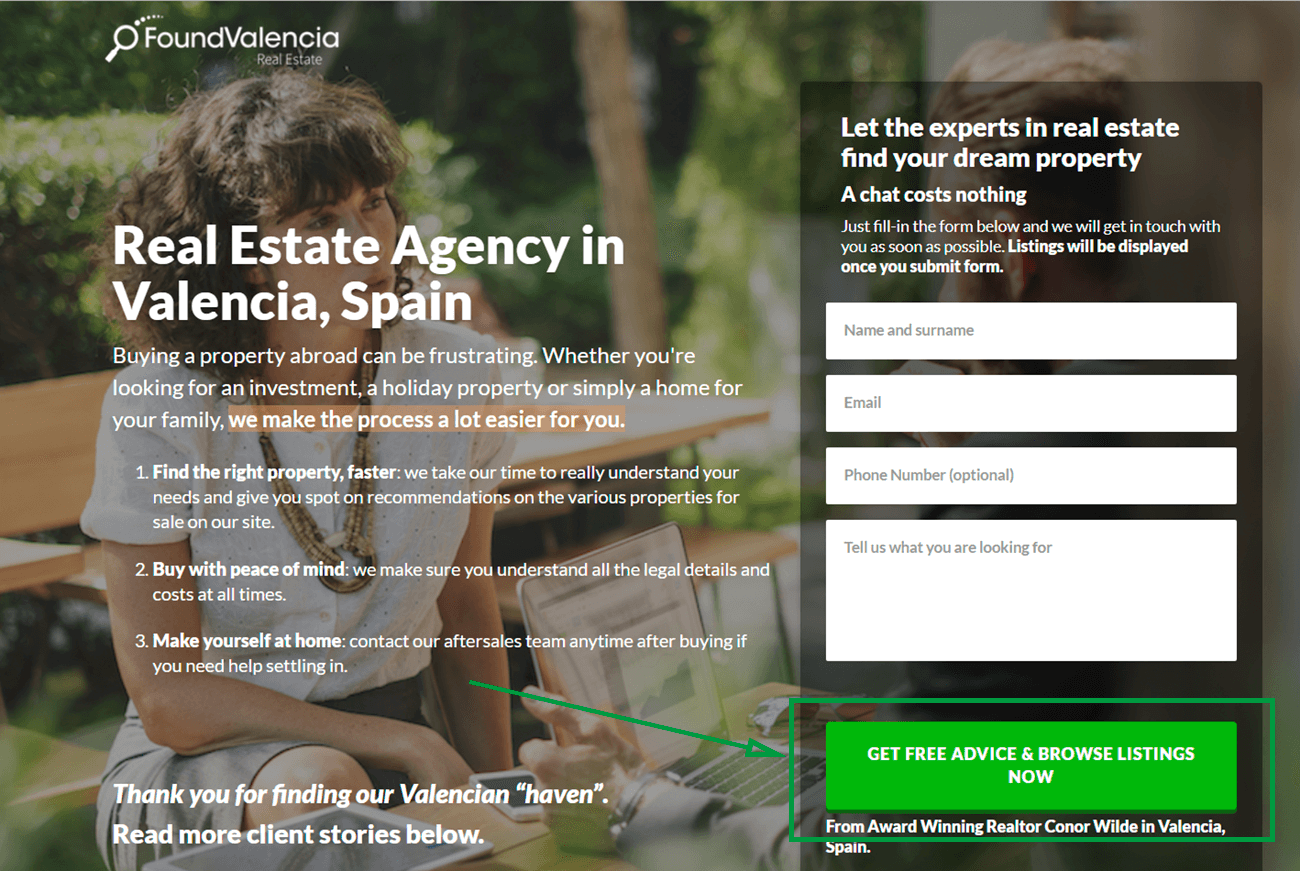 landing page for real estate found valencia landing page