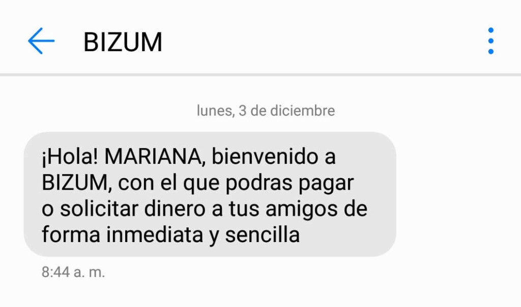 sms marketing bizum example