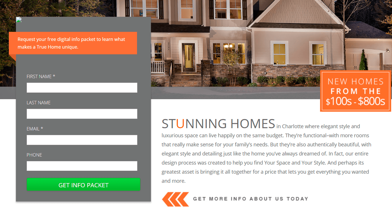 landing page for real estate Charlotte homes