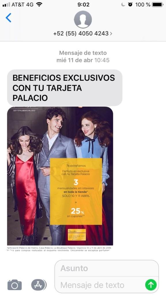 sms marketing palacio example