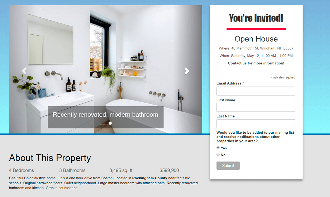 landing page for real estate open house