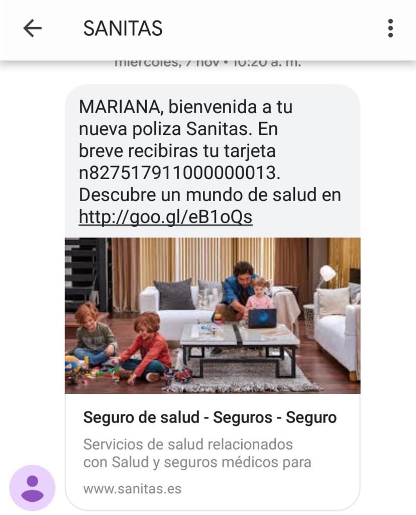 sms marketing sanitas example