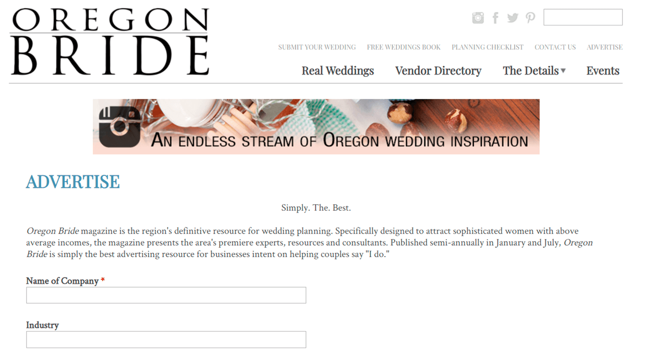 Estrategias para vender flores. Revista Oregon bride.