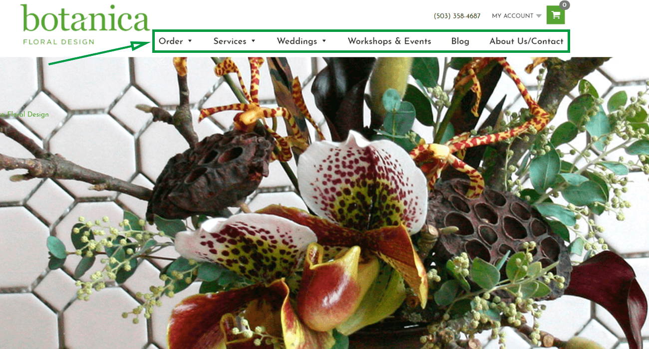 Estrategias para vender flores. Homepage de Botanica.