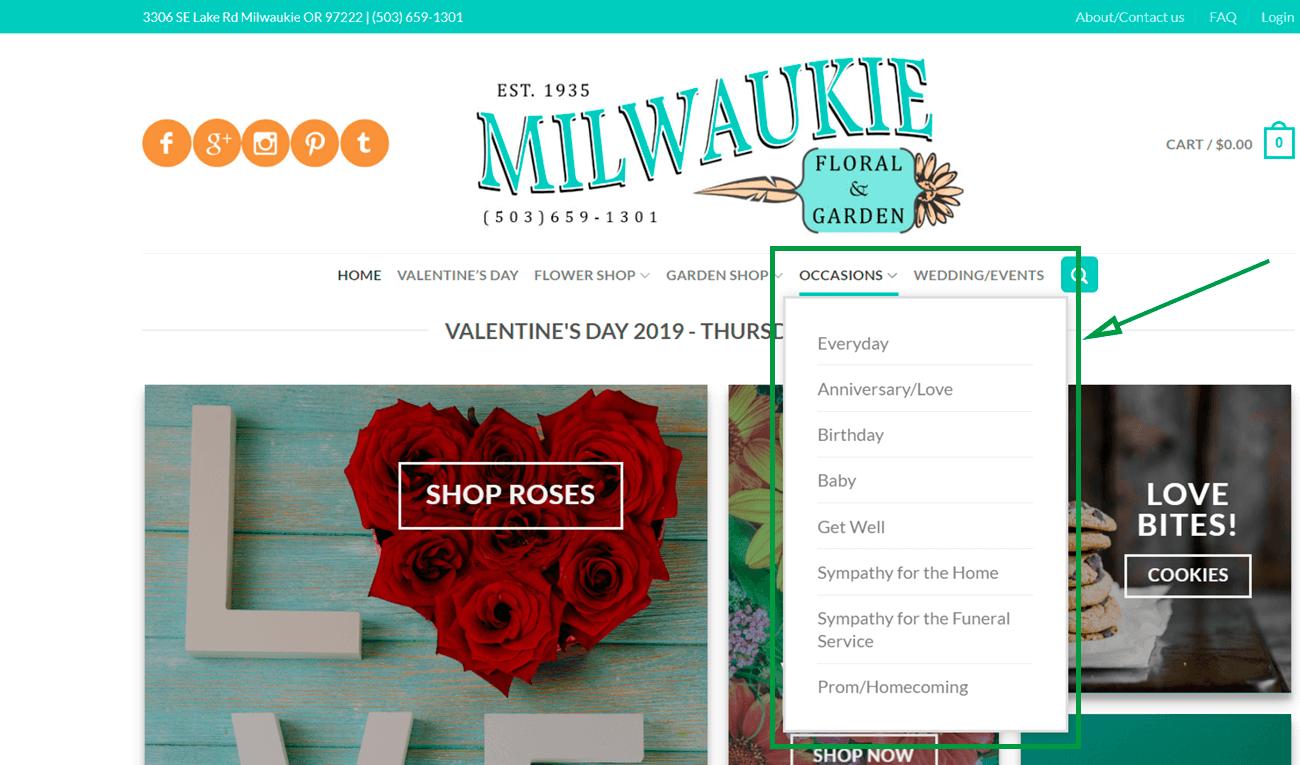 Estrategias para vender flores. Web de Milwaukie.