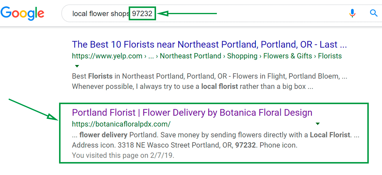 Marketing ideas for flower shops. Zipcode search.
