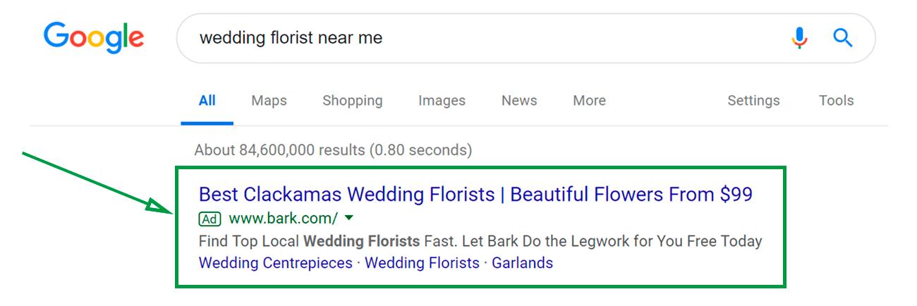 Estrategias para vender flores. Anuncio en Google.