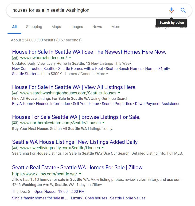 Google ads para inmobiliarias. Ejemplo de resultados de búsqueda.