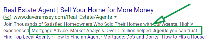 Google ads for real estate. Callout extension example.