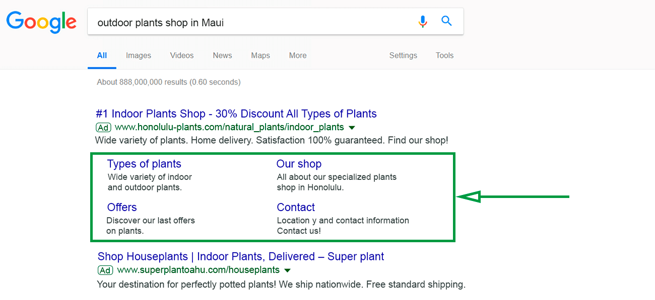 How to increase visibility on google. Ad extension example.