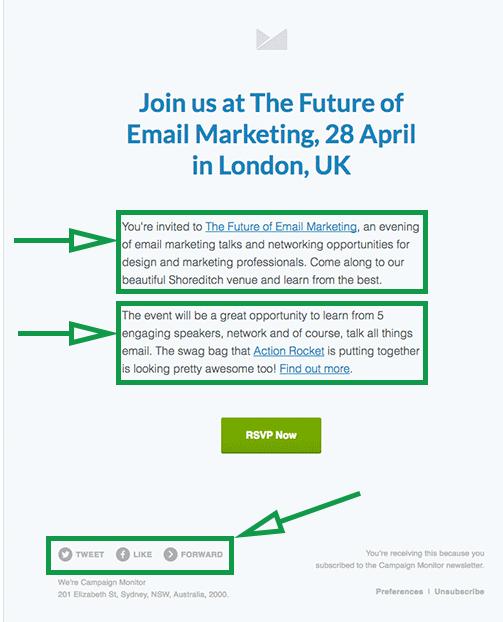 Estrategias de marketing para eventos. Email de invitación a evento.