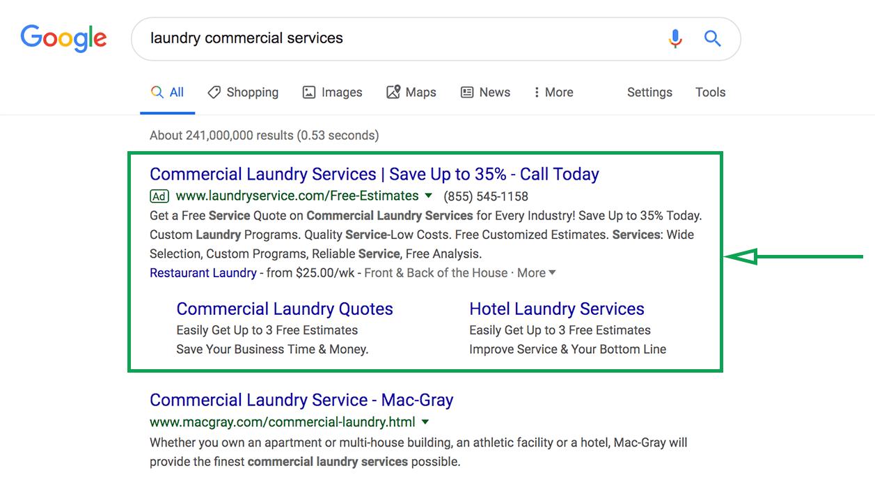 Marketing para lavanderías. Anuncios de Google lavanderías.