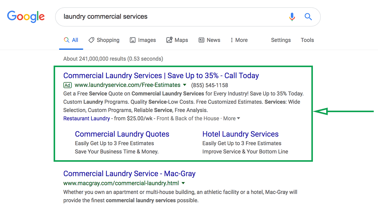 Marketing strategies for laundries. Google ad example.