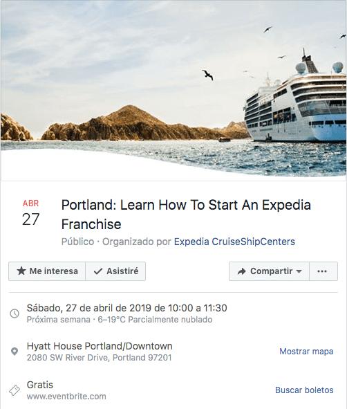 marketing para eventos. Invitación a evento en Facebook.