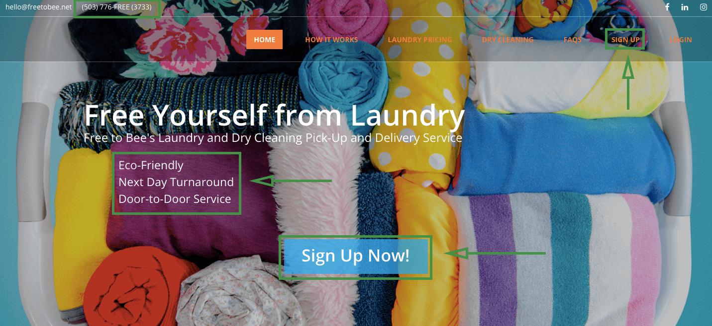 Marketing para lavanderías. Ejemplo de datos de contacto.
