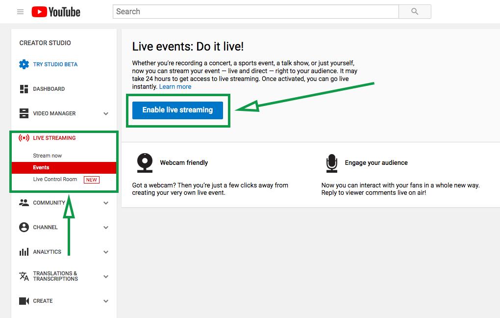 Estrategias de marketing para eventos. Transmisión en directo desde YouTube.
