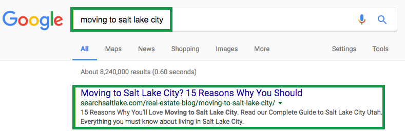 How to get clients in real estate. Google Search Result Blog Post