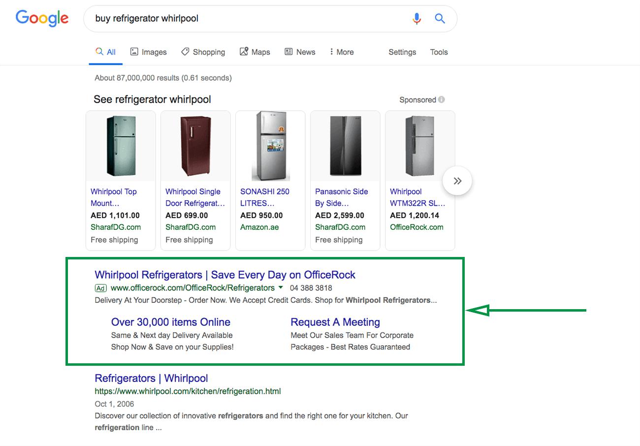 Cómo hacer un plan de marketing. Ejemplo anuncio en Google.