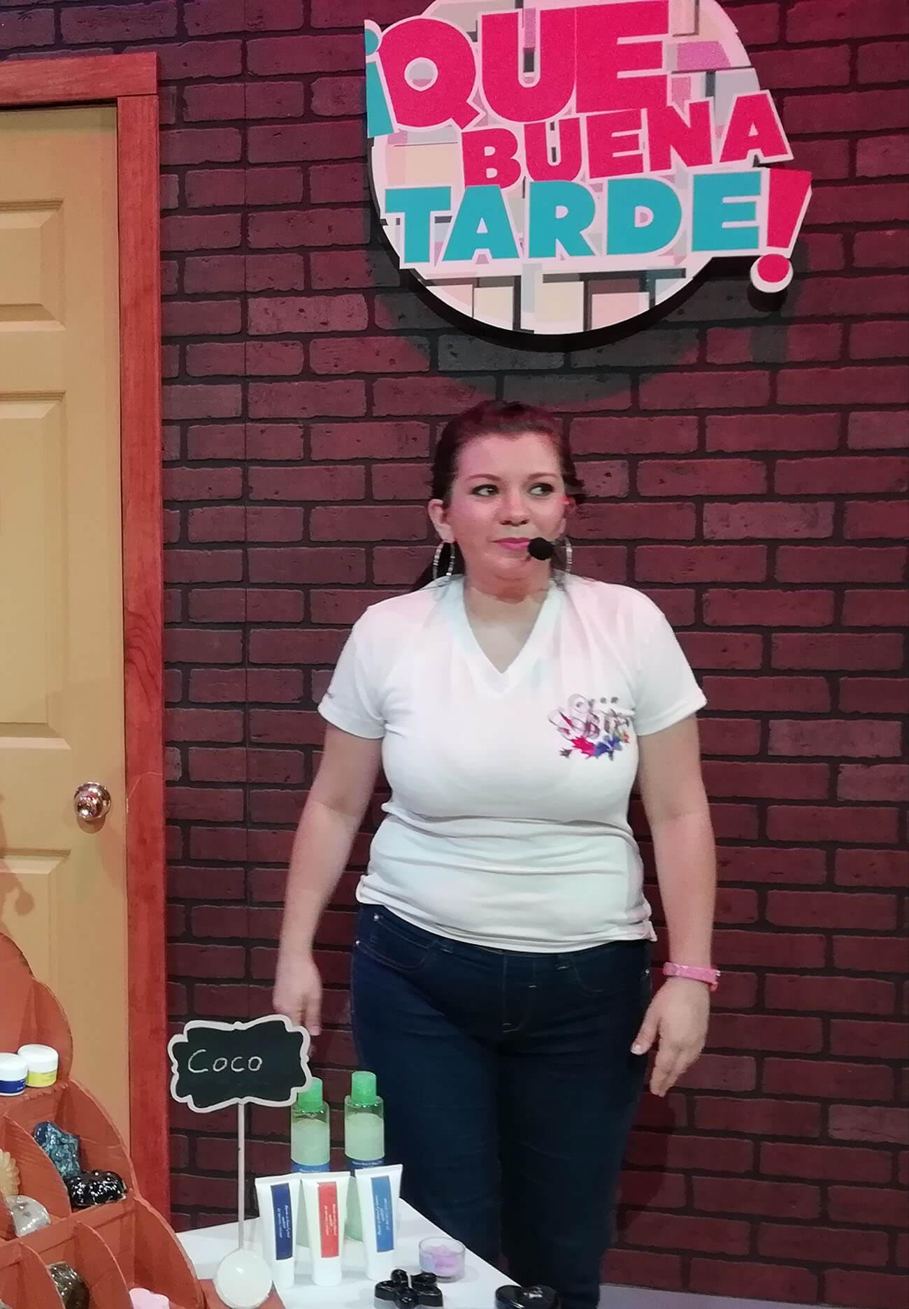 VeganBliss. Natalia exponiendo sus productos.