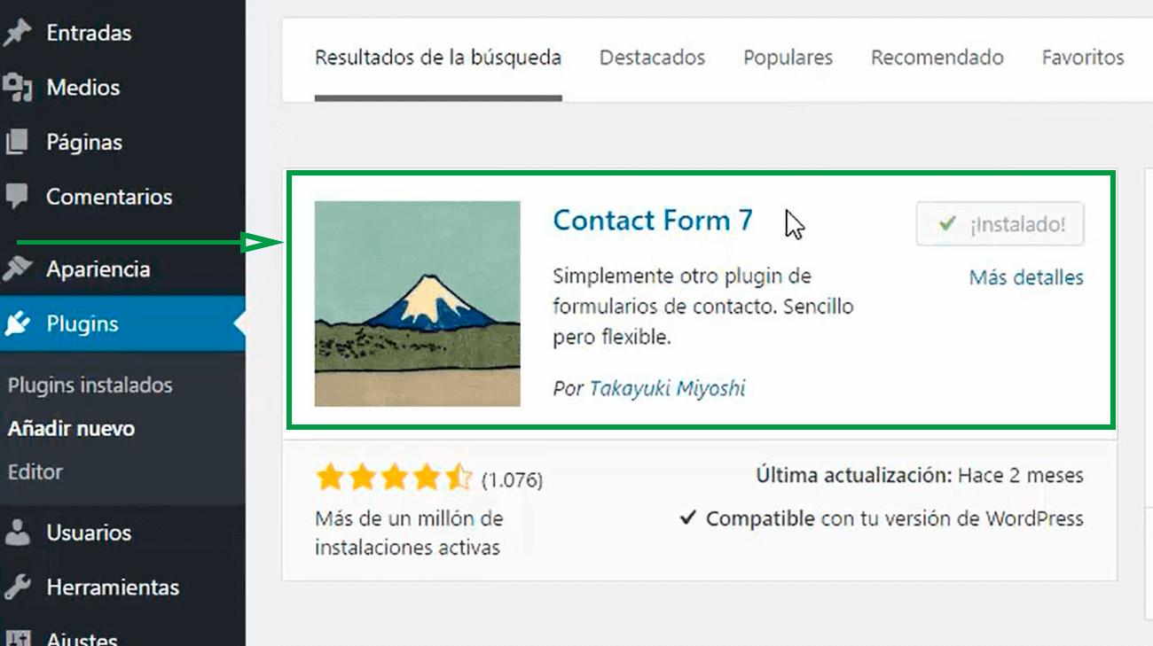 Cómo usar WordPress para crear una página web. Contact Form 7.