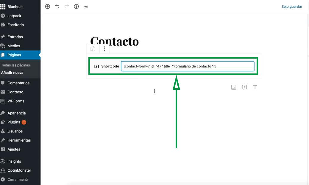 Cómo usar WordPress para crear una página web. Código de formulario.