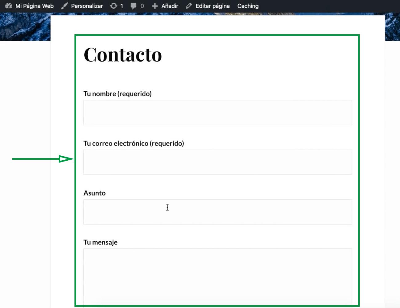 Cómo usar WordPress para crear una página web. Formulario agregado.