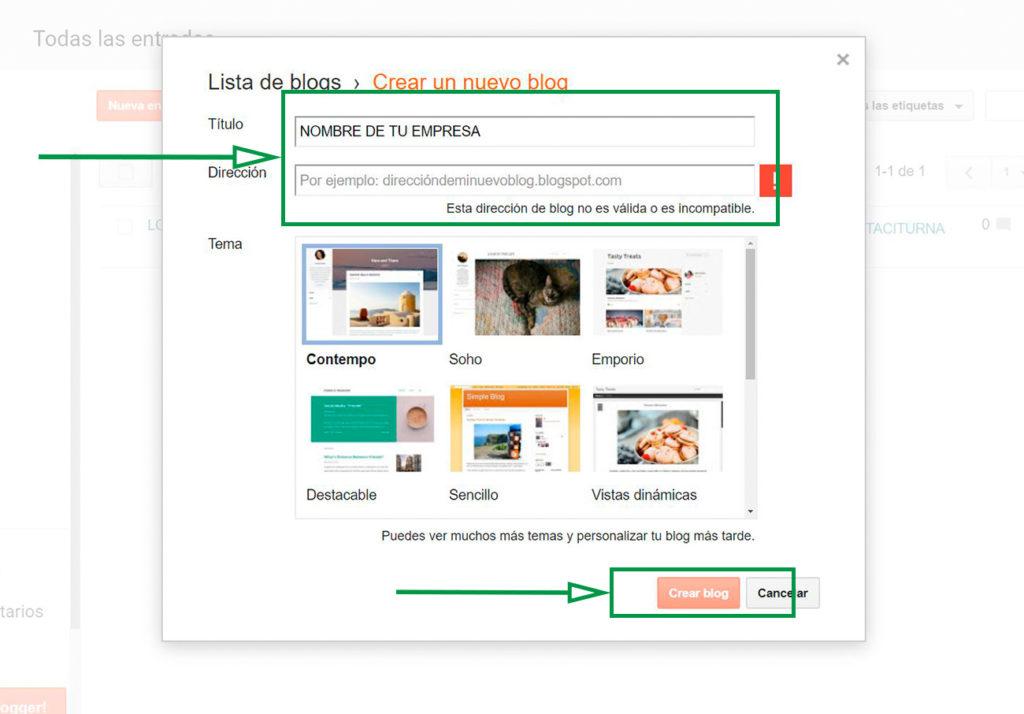 Cómo crear un Blog en Blogger. Página con campos a llenar.