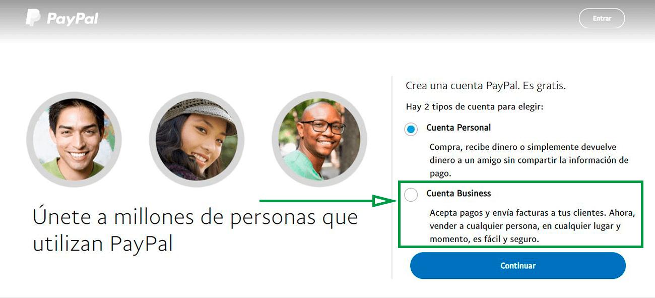 Cómo usar PayPal para recibir pagos como empresa. Página de inicio de PayPal