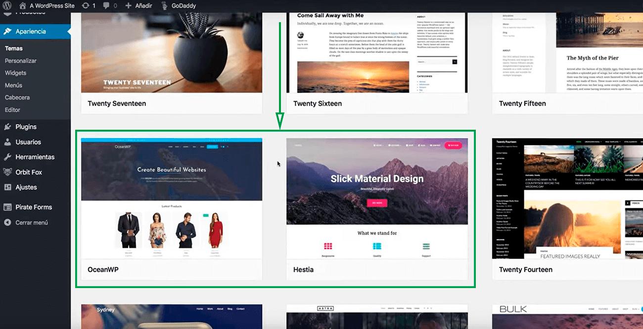 Cómo usar WordPress para crear una página web. Biblioteca de plantillas