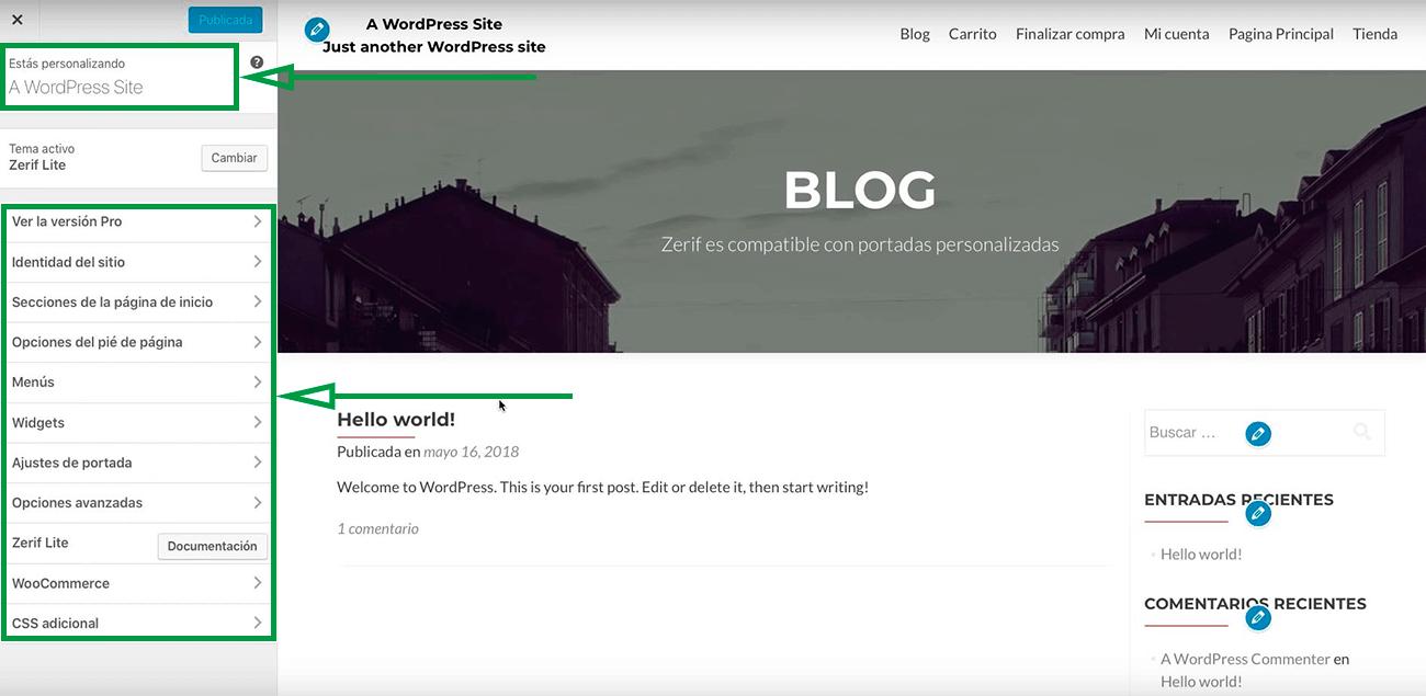 Cómo usar WordPress para crear una página web. Personalizar plantillas.
