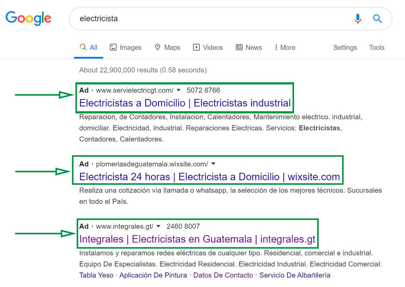 Cinco Estrategias de Marketing para electricistas. Ejemplo de Google Ads