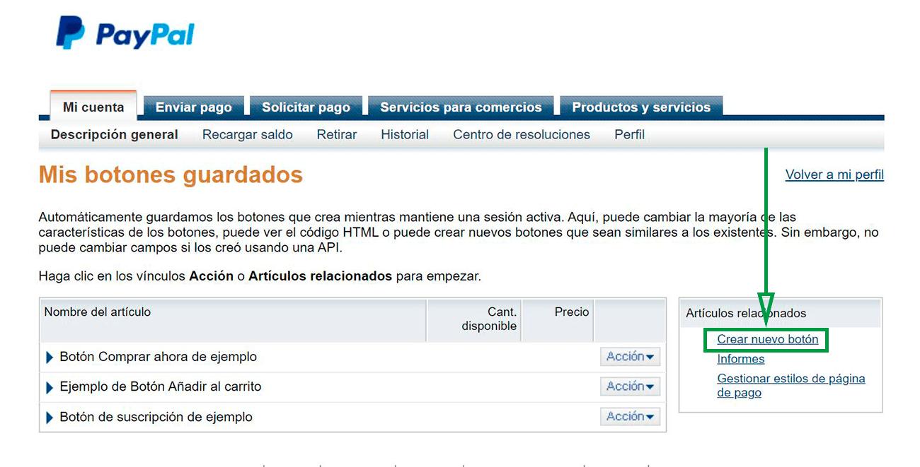 Cómo usar PayPal para recibir pagos como empresa. Ventana de botones PayPal