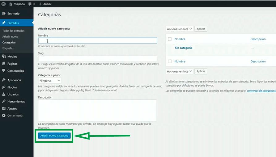 Cómo usar WordPress para crear una página web. Añadir nueva categoría.