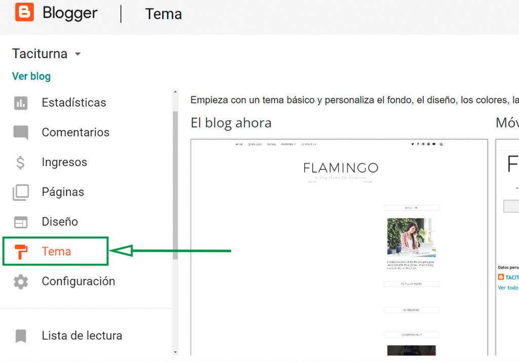 Cómo crear un Blog en Blogger. Sección de herramientas en Blogger