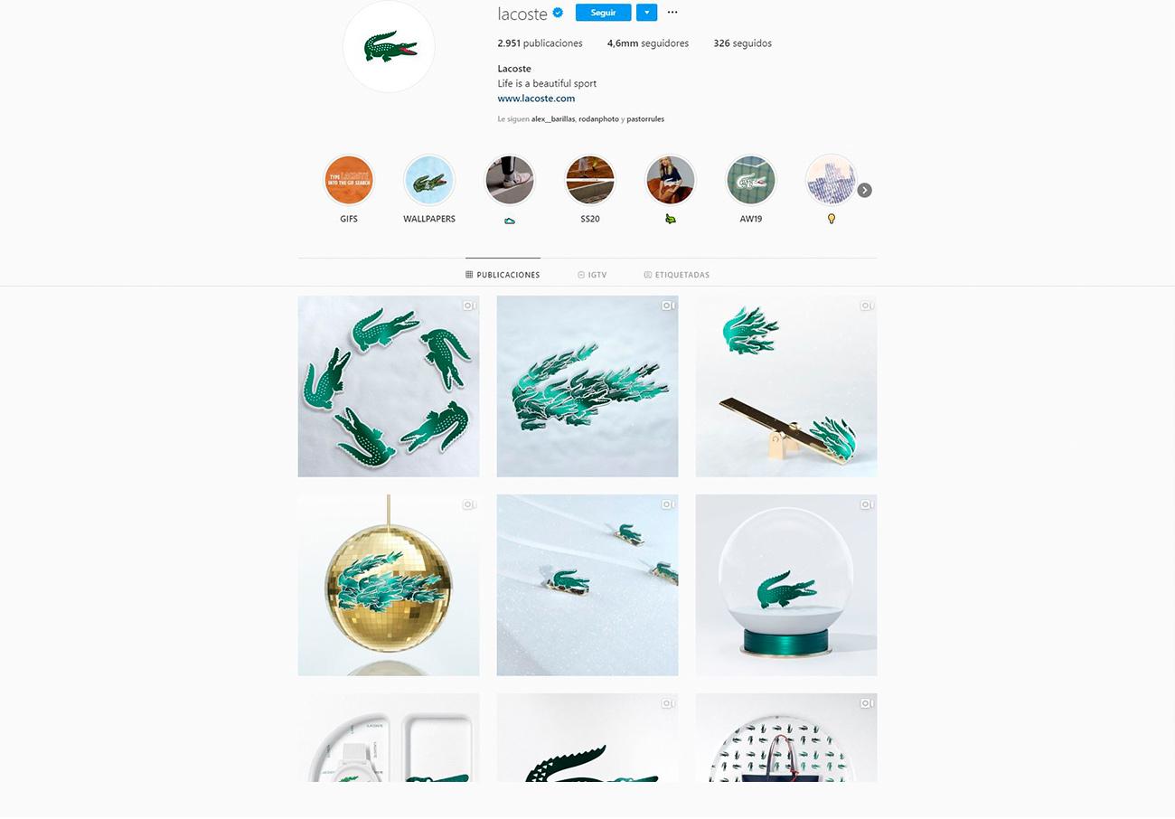 Estrategias de marketing para ópticas. Instagram de Lacoste