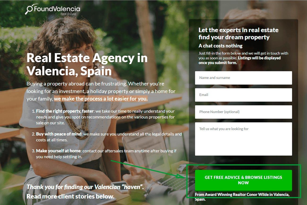 2 landing pages para inmobiliarias. landing page de found valencia