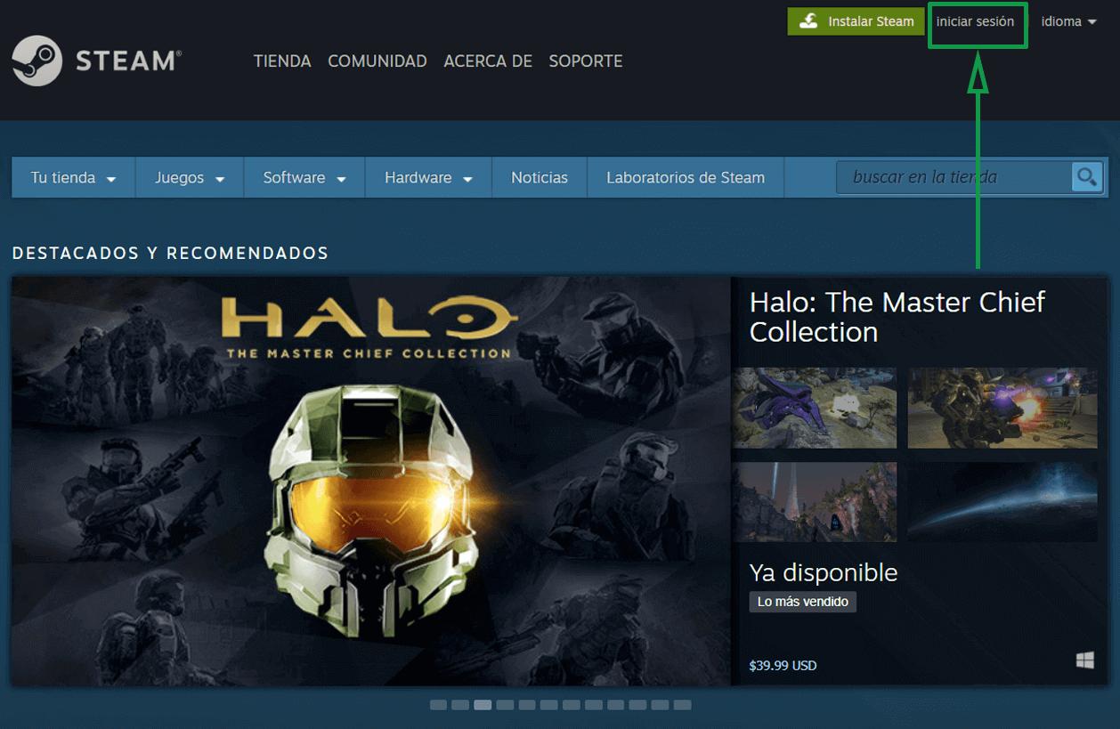 1. Marketing para videojuegos. Página principal de Steam