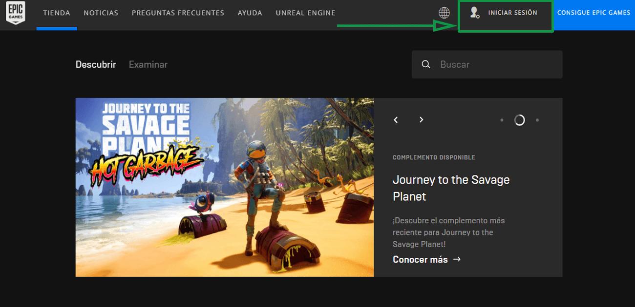 2. Marketing para videojuegos. Página de Epic Games Store