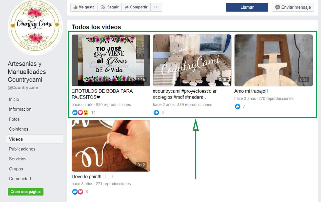 Estrategias para vender artesanías por internet. Ejemplo de una fanpage