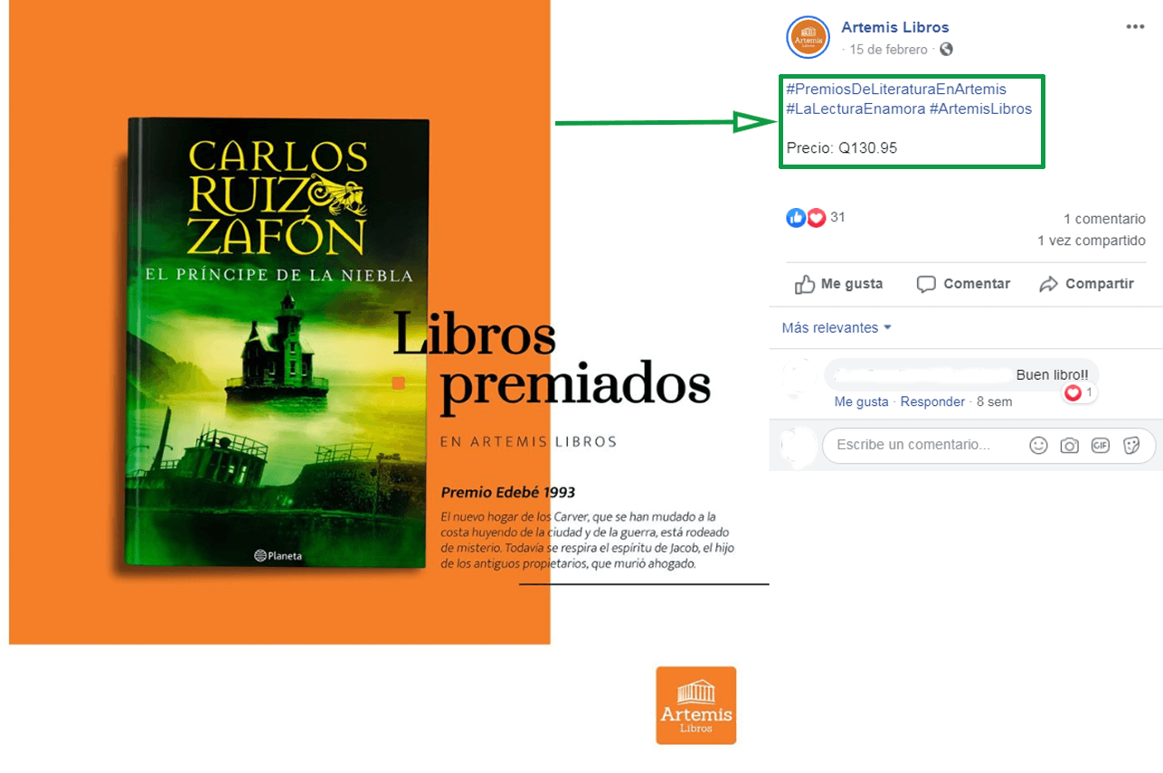 Marketing para librerías. Ejemplo de publicación en Facebook.