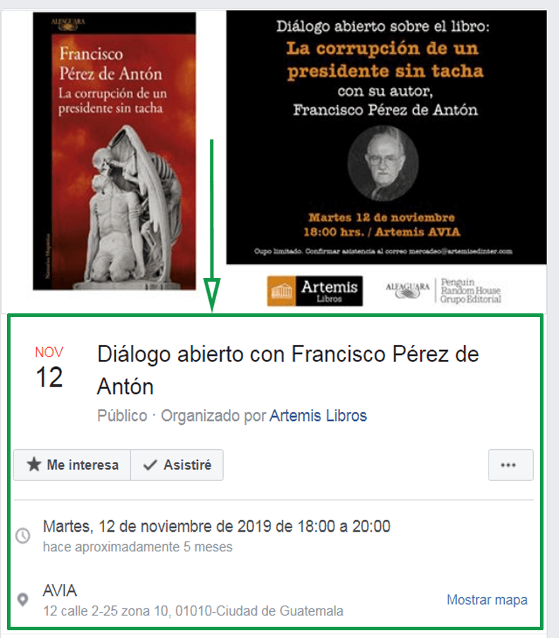 Marketing para librerías. Evento en Facebook ejemplo